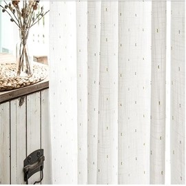 Sweet and Fresh Pastoral White Color with Dots Custom Sheer Curtain for Living Room