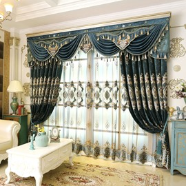 Luxury and Elegant Navy Blue Voile Polyester Sheer Curtain for Living Room and Bedroom Decorative Custom No Pilling No Fading No off-lining Net Curtain