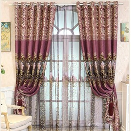Elegant Purple High Quality Chenille 2 Panels Decorative Window Sheer Curtain