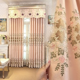 Romantic and Sweet Pink Color with Embroidered Flowers 2 Panels Decorative Sheer Curtain
