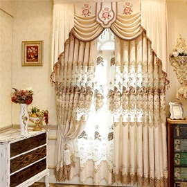 Noble and Modern Yellow Hollowed-out with Classical Damask Pattern Decorative Sheer Curtain