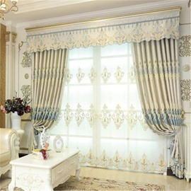 Decorative and Blackout Thick Polyester Noble and Elegant Style 2 Panels Sheer Curtain