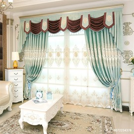 Decorative Modern and Fresh Style Green Color with Embroidered Flowers Breathable Sheer Curtain