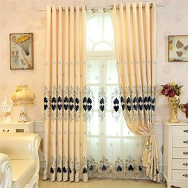 Soft and Elegant Chenille with Embroidered Damask Pattern Decorative Living Room Sheer Curtain
