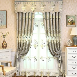 Light Green Chenille Materials Embroidered Flowers Living Room and Bedroom Sheer Curtain