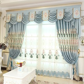 Decorative and Breathable Chenille Light Blue with Embroidered Flowers Window Curtain