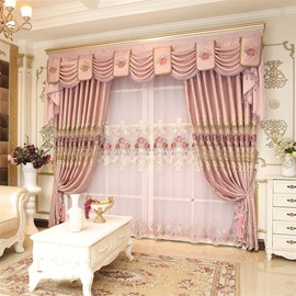 Romantic and Elegant Pink Color with Embroidered Flowers Living Room Sheer Curtain