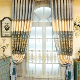 Grey and Beige Stitching with Hollowed-out Patterns Living Room and Bedroom Window Sheer Curtain