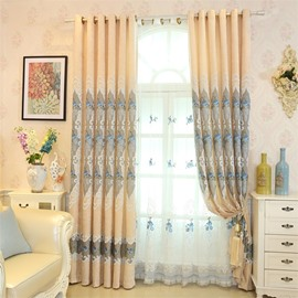Yellow Color High Quality Chenille with Wonderful Patterns Living Room Sheer Curtain