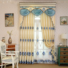 Elegant Beige Chenille with Classical Damask Pattern 2 Panels Bedroom Sheer Curtain