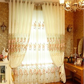 Beige Chenille with Embroidered Pink Peach Flowers Romantic and Elegant Window Sheer Drapes