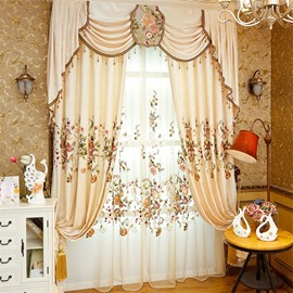 Modern and Pastoral American Style Royal Chenille Living Room and Bedroom Sheer Curtain