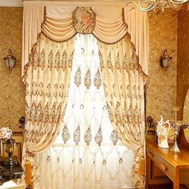 Noble and Elegant Beige Color Classical Pattern 2 Panels Sheer Curtain