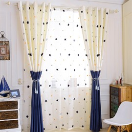 Modern and Concise Beige Stars Printed 2 Panels Living Room Sheer Curtain