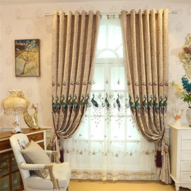 Elegant and Modern Embroidered Peacocks 2 Panels Living Room Sheer Curtain