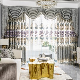 European Elegant Embroidered Flowers High Quality Organza Custom Sheer Curtain for Living Room Bedroom 2 Panels