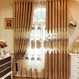 Elegant and Popular European Style Brown Embroidered Sheer Curtain