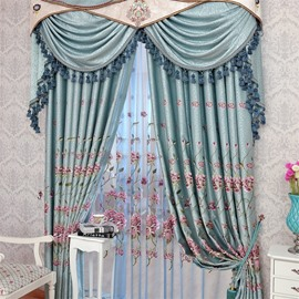 European Style Light Blue Chenille Custom Living Room Embroidered Sheer Curtain