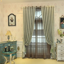 Concise Style Chenille 2 Panels Living Room and Bedroom Sheer Curtain