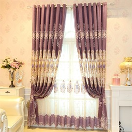 Elegant and Noble Hollow Embroidered 2 Panels Custom Living Room Sheer Curtain
