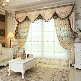 European Elegant Beige Chenille Decorative 2 Panels Living Room Sheer Curtain