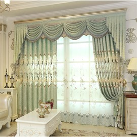 European ans Elegant Chenille Light Green Hollow out Custom Living Room Sheer Curtain