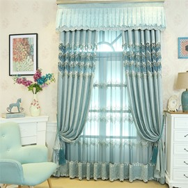 Romantic and Elegant Light Blue Embroidered Flowers Decorative Living Room Sheer Drape