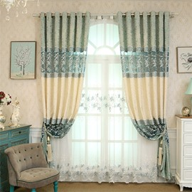 European Style Fresh Light Blue Embroidered Flowers Custom Living Room Sheer Curtain