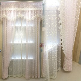 Romantic Embroidered Pink Flowers 2 Panels Sheer Curtain for Living Room