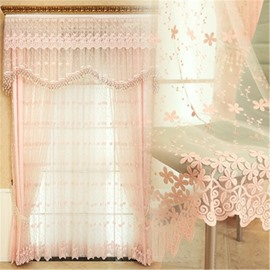 Modern and Romantic Embroidered Pink Flowers 2 Panels Living Room Sheer Curtain