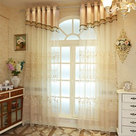 Delicate Chenille Materials with Embroidered White Leaves 2 Panels Sheer Curtain