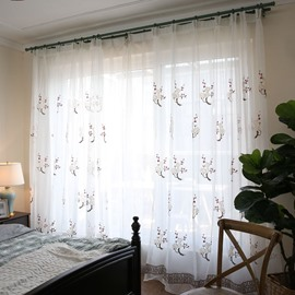 Soft and Cozy White Yarn with Plums Japanese Style 2 Panels Living Room Sheer Curtain