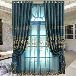 Classy Organza Blue Yarn 2 Panels Living Room and Bedroom Sheer Curtain
