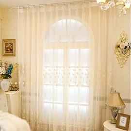 Delicate Chenille Materials with Embroidered White Flowers 2 Panels Sheer Curtain