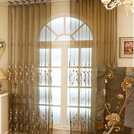 Delicate Coffee Chenille Materials with Embroidered White Flowers 2 Panels Sheer Curtain
