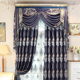 European and Delicate Style Dark Blue Embroidery Retro Pattern Living Room Custom Curtain