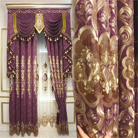 Luxury and Elegant European Chenille Embroidered Flowers Living Room and Bedroom Decorative Sheer Curtain
