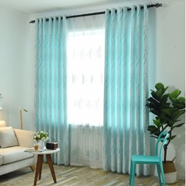 Light Teal Blue 2 Panels Living Room Sheer Curtain