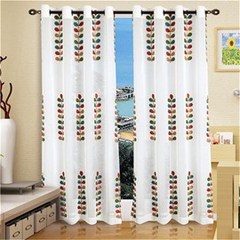 Fresh Style Embroidered Leaves Pattern Custom Sheer Curtain