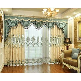 Beige Pattern Chenille European Style Sheer Curtain