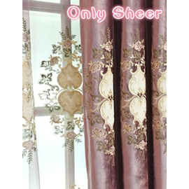 Purple Floral Pattern Sheer Elegant Style Room For Decoration