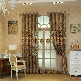 European Classic Style Embroidered Luxury Curtain Sheer for Livin'room