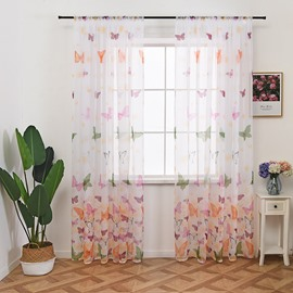 Printed Colorful Butterfly and Flower Curtain Decorative Sheer