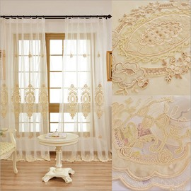 Elegant Golden Embroidery Curtain Match White Sheer Fit Any Drapes