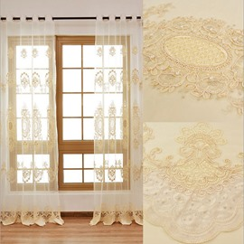 White Light Sheer Special Embroidery Elegant Curtain Decoration for Bedroom
