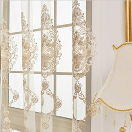 White Light Sheer Embroidery Design Curtain Decoration Sheer Only