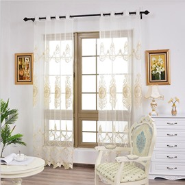White Light Sheer Embroidery Curtain Decoration for Diningroom