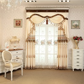 Floral Embroidery Beige Silk-Feeling Simple Style Drapes 2 Sheer