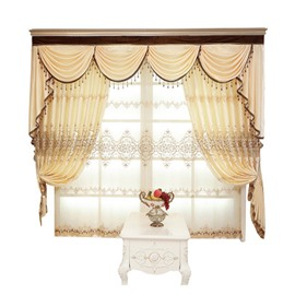 Europe Type Sitting Room Light Yellow Embroider Curtain Sheer