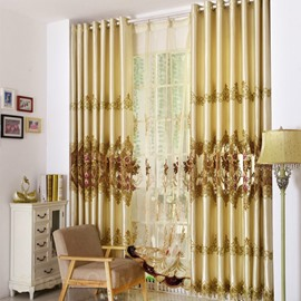 Floral Curtain Hand-made Embroidery Smooth Drapes 2 Panels Sheer